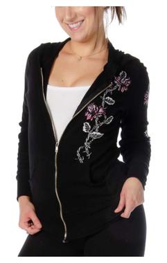 Liberty Wear Women's Barbed Wire & Roses Zip-Up Light-Weight Hoodie - Black - Wisconsin Harley-Davidson