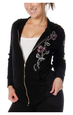 Liberty Wear Women's Barbed Wire & Roses Zip-Up Light-Weight Hoodie - Black - Wisconsin Harley-Davidson