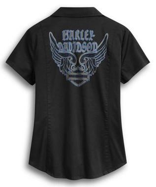 Harley-Davidson Women's Embellished Winged Zip Front Shirt, Black 96393-20VW - Wisconsin Harley-Davidson