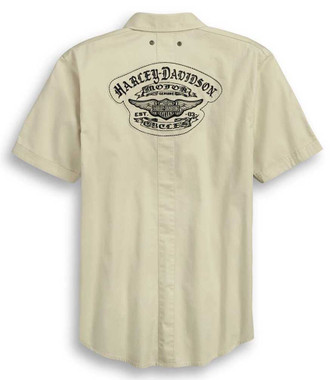 Harley-Davidson Men's Raw Edge Patch Short Sleeve Woven Shirt 96366-20VM - Wisconsin Harley-Davidson
