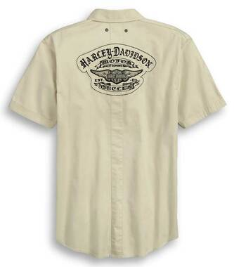 Harley-Davidson Men's Raw Edge Patch Short Sleeve Woven Shirt 96366-20VM - Wisconsin Harley-Davidson