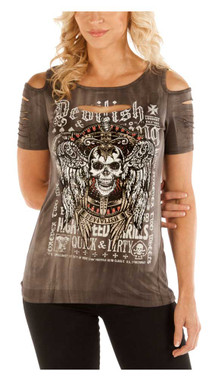 Liberty Wear Women's Devilish Bling Cold Shoulder Short Sleeve Tee, Gray - Wisconsin Harley-Davidson