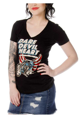 Liberty Wear Women's Dare Devil Heart Embellished Short Sleeve T-Shirt - Black - Wisconsin Harley-Davidson