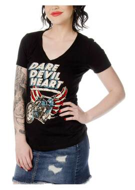 Liberty Wear Women's Dare Devil Heart Embellished Short Sleeve T-Shirt - Black - Wisconsin Harley-Davidson