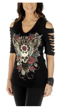 Liberty Wear Women's Devilish Cuts Embellished Cold Shoulder Half Sleeve Top - Wisconsin Harley-Davidson