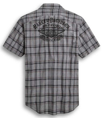 Harley-Davidson Men's Yarn-Dyed Plaid Short Sleeve Woven Shirt, Gray 96371-20VM - Wisconsin Harley-Davidson