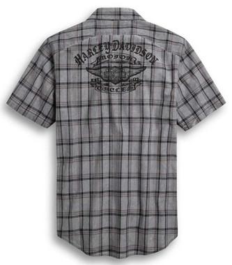 Harley-Davidson Men's Yarn-Dyed Plaid Short Sleeve Woven Shirt, Gray 96371-20VM - Wisconsin Harley-Davidson