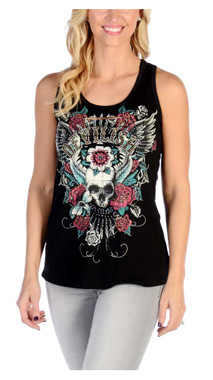 Liberty Wear Women's Embellished Devilish Lace Back Sleeveless Tank Top - Black - Wisconsin Harley-Davidson