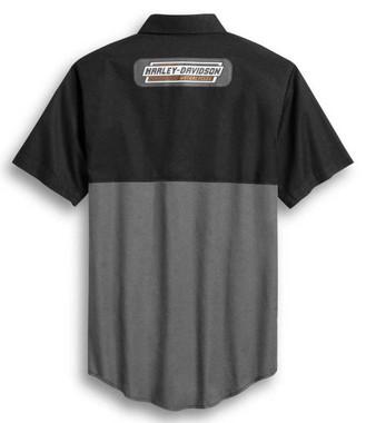 Harley-Davidson Men's Colorblocked Racing Short Sleeve Woven Shirt 96372-20VM - Wisconsin Harley-Davidson