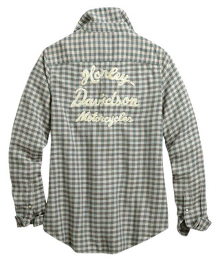 Harley-Davidson Women's Vintage Script Plaid Long Sleeve Shirt 96433-20VW - Wisconsin Harley-Davidson