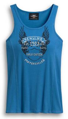 Harley-Davidson Women's Genuine Motorcycles Sleeveless Tank Top, Blue 96403-20VW - Wisconsin Harley-Davidson
