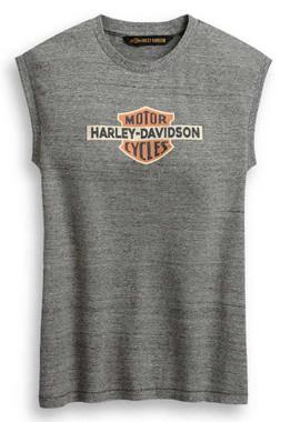 Harley-Davidson Women's Distressed Vintage Logo Sleeveless Tee - Gray 96434-20VW - Wisconsin Harley-Davidson