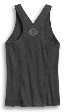 Harley-Davidson Women's Grommet & Lace Sleeveless Tank Top, Gray 96402-20VW - Wisconsin Harley-Davidson