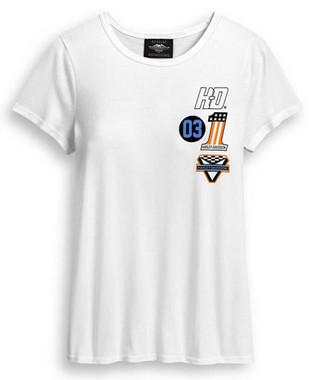 Harley-Davidson Women's Multi-Logo Short Sleeve T-Shirt - White 96405-20VW - Wisconsin Harley-Davidson