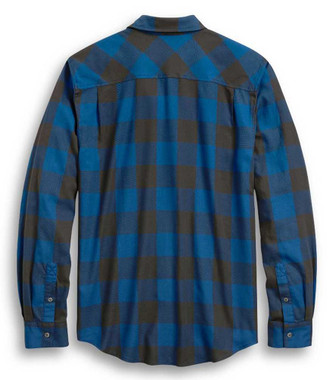 Harley-Davidson Men's Slim Fit #1 Skull Buffalo Plaid Shirt, Blue 96328-20VH - Wisconsin Harley-Davidson
