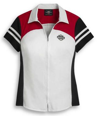 Harley-Davidson Women's Colorblock Zip Front Short Sleeve Shirt 96395-20VW - Wisconsin Harley-Davidson