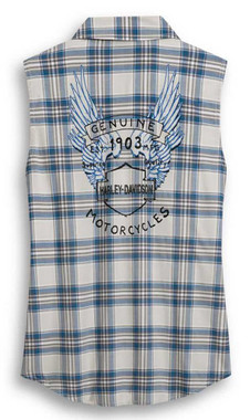Harley-Davidson Women's Winged B&S Logo Plaid Sleeveless Shirt 96396-20VW - Wisconsin Harley-Davidson