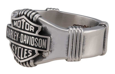 Harley-Davidson Men's Nut & Coil Bar & Shield Ring Band -Stainless Steel, Silver - Wisconsin Harley-Davidson