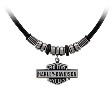 Harley-Davidson Men's Vintage B&S Hardware & Leather Necklace - Stainless Steel - Wisconsin Harley-Davidson