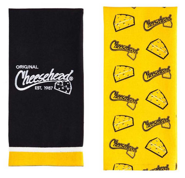 Original Cheesehead Graphic Textile Tea Towels- Set of 2, Gold & Black 4DTS5070A - Wisconsin Harley-Davidson