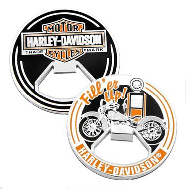 Harley-Davidson Fill'er Up Bar & Shield Metal Challenge Coin Bottle Opener, 2in. - Wisconsin Harley-Davidson