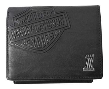Harley-Davidson Mens Bar & Shield Classic Leather Bi-Fold Plus One Wallet, Black - Wisconsin Harley-Davidson