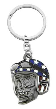 Harley-Davidson Biker Skull Flag Key Chain, 1.5 inch - Antique Silver Finish - Wisconsin Harley-Davidson