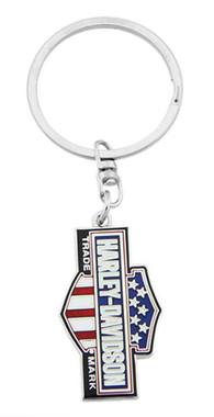 Harley-Davidson American Flag Trademark B&S Key Chain, 1.5 inch - Silver Finish - Wisconsin Harley-Davidson