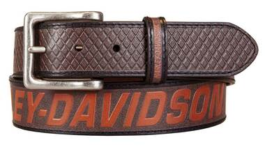 Harley-Davidson Men's Free Rein American Flag Brown Leather Belt- Antique Nickel - Wisconsin Harley-Davidson