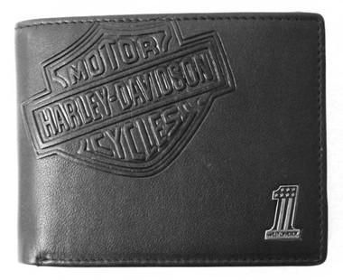 Harley-Davidson Men's Bar & Shield Classic Leather Billfold Wallet w/ Flip-out - Wisconsin Harley-Davidson