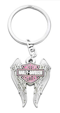 Harley-Davidson Pink Bar & Shield Winged Key Chain, 1.5 inch - Silver Finish - Wisconsin Harley-Davidson
