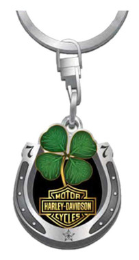 Harley-Davidson Lucky Clover Horseshoe Key Chain, 1.5 in - Antique Silver Finish - Wisconsin Harley-Davidson