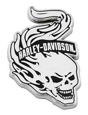 Harley-Davidson 1.25 in. Flaming Skull Metal Pin, Antique Silver Finish - Wisconsin Harley-Davidson