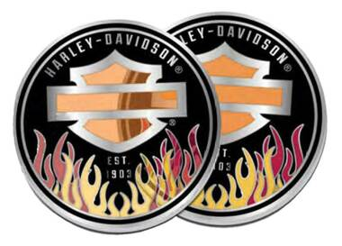 Harley-Davidson Bar & Shield Logo w/Colorful Flames Metal Challenge Coin, 1.75in - Wisconsin Harley-Davidson
