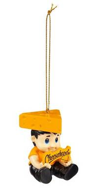 Original Cheesehead Sculpted Cheesehead Lil Fan Hanging Ornament-Gold 3OT5070NLF - Wisconsin Harley-Davidson