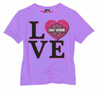 Harley-Davidson Little Girls' Glittery Love Short Sleeve Toddler Tee - Purple - Wisconsin Harley-Davidson