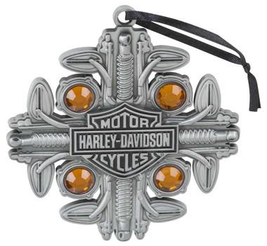 Harley-Davidson Motorcycle Parts Snowflake Gem Embellished Ornament HDX-99198 - Wisconsin Harley-Davidson