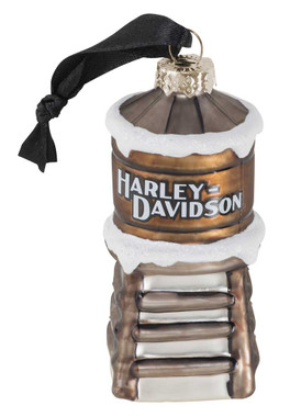 Harley-Davidson 2020 Blown Glass Water Tower Ornament - Brown Finish HDX-99206 - Wisconsin Harley-Davidson