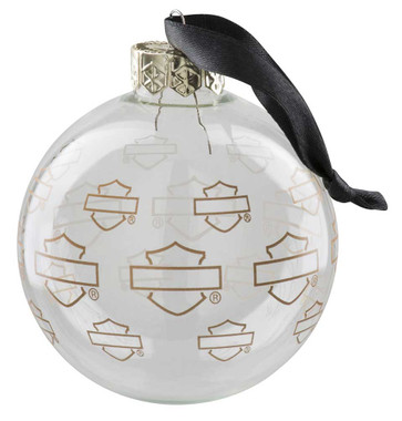 Harley-Davidson Repeat Silhouette Bar & Shield Ball Ornament - Clear HDX-99196 - Wisconsin Harley-Davidson
