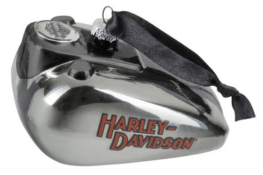 Harley-Davidson Blown Glass H-D Logo Gas Tank Ornament - Silver Finish HDX-99201 - Wisconsin Harley-Davidson