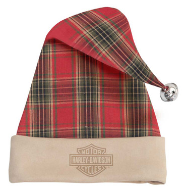 Harley-Davidson Holiday Santa Hat w/ Bell - Plaid & Cream Faux Suede HDX-99189 - Wisconsin Harley-Davidson