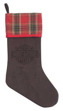 Harley-Davidson Winter Holiday Stocking - Vintage Brown Faux Suede HDX-99188 - Wisconsin Harley-Davidson