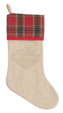 Harley-Davidson Winter Holiday Stocking - Antique White Faux Suede HDX-99187 - Wisconsin Harley-Davidson