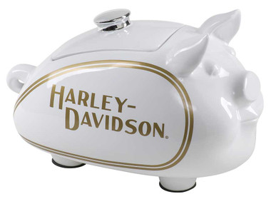 Harley-Davidson Custom Sculpted Classic Hog Cookie Jar - White & Gold HDX-99179 - Wisconsin Harley-Davidson