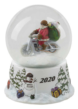 Harley-Davidson Winter 2020 Sculpted Biker Santa Glass Snow Globe HDX-99177 - Wisconsin Harley-Davidson