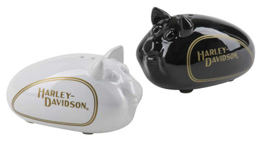 Harley-Davidson Hog Salt & Pepper Ceramic Shaker Set - Black & White HDX-99183 - Wisconsin Harley-Davidson