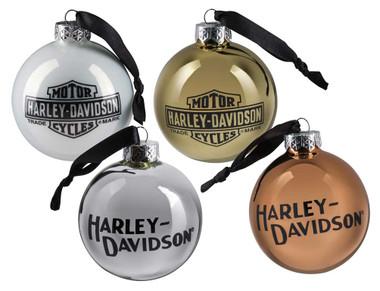 Harley-Davidson Trademark Logo Ball Ornament Set - Multi-Colored HDX-99195 - Wisconsin Harley-Davidson