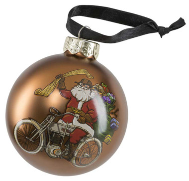 Harley-Davidson Winter 2020 Biker Santa Ball Glass Ornament, Brown HDX-99194 - Wisconsin Harley-Davidson