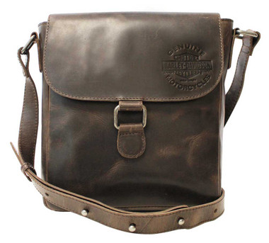 Harley-Davidson Men's Embossed Rocker Leather Messenger Bag RB9124L-BROWN - Wisconsin Harley-Davidson