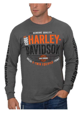 Harley-Davidson Men's Hype H-D Long Sleeve Crew-Neck Cotton T-Shirt, Charcoal - Wisconsin Harley-Davidson